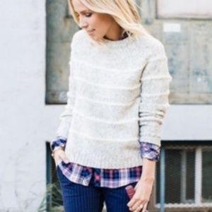J. Crew S Chunky Stripe Knit Sweater Gray